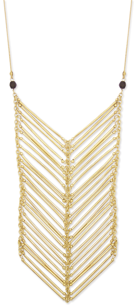 ed122132e16 Gold Bar Chevron Necklace -Long Statement Necklace - Vivid Designs Jewelry!