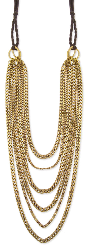 dd03ca4a60e Long Gold Layered Chain Necklace -6 Line Metal Graduating Curb Chain  Statement Necklace